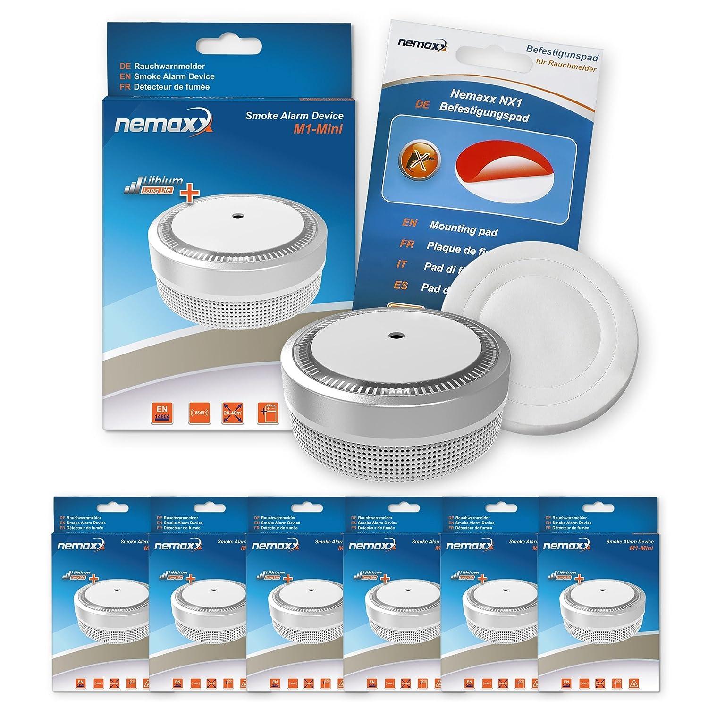 6X Nemaxx Detector de Humo M1-Mini sensibilidad fotoeléctrica - con batería de Litio Tipo DC3V - Conforme la Norma DIN EN14604 & VDS - Plateado + NX1 Pad de ...