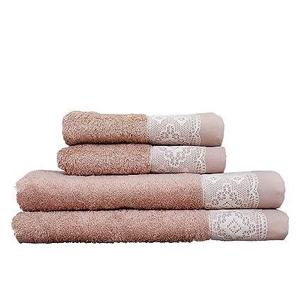 Decorative Towels For Bathroom | Amazon Com Minteks 152302680 Kopenhagi Decorative Bath Towel Sets