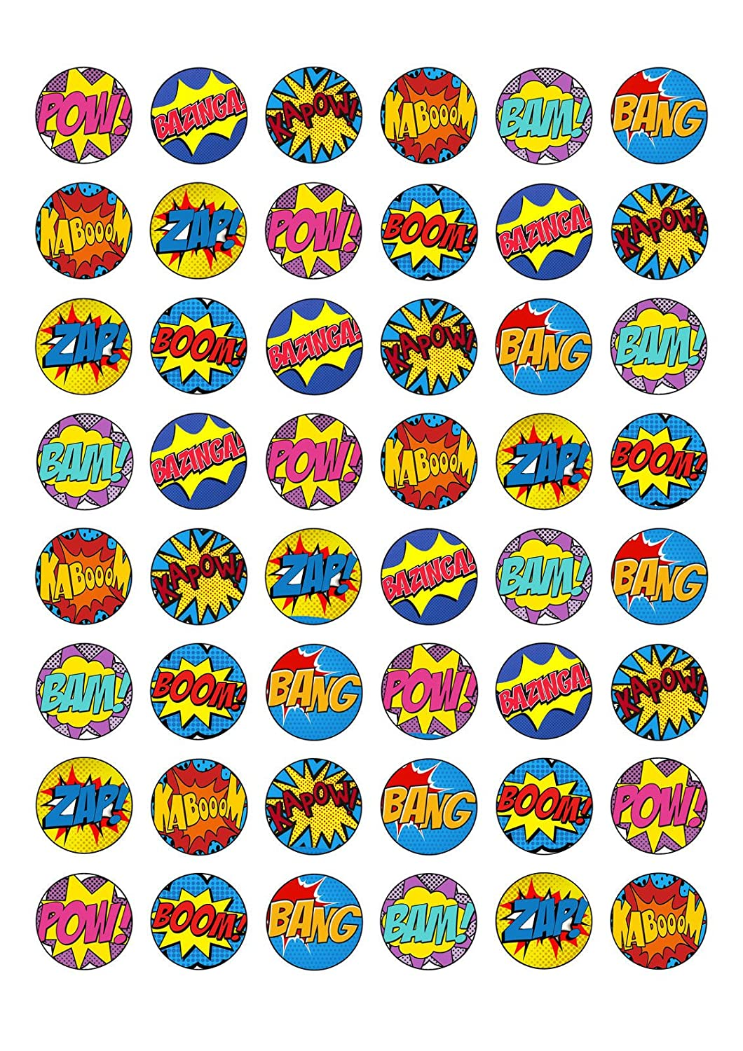 48 Edible Wafer Paper Superhero Retro Pow Zap Comic Book Style Cake Toppers Decorations Top That