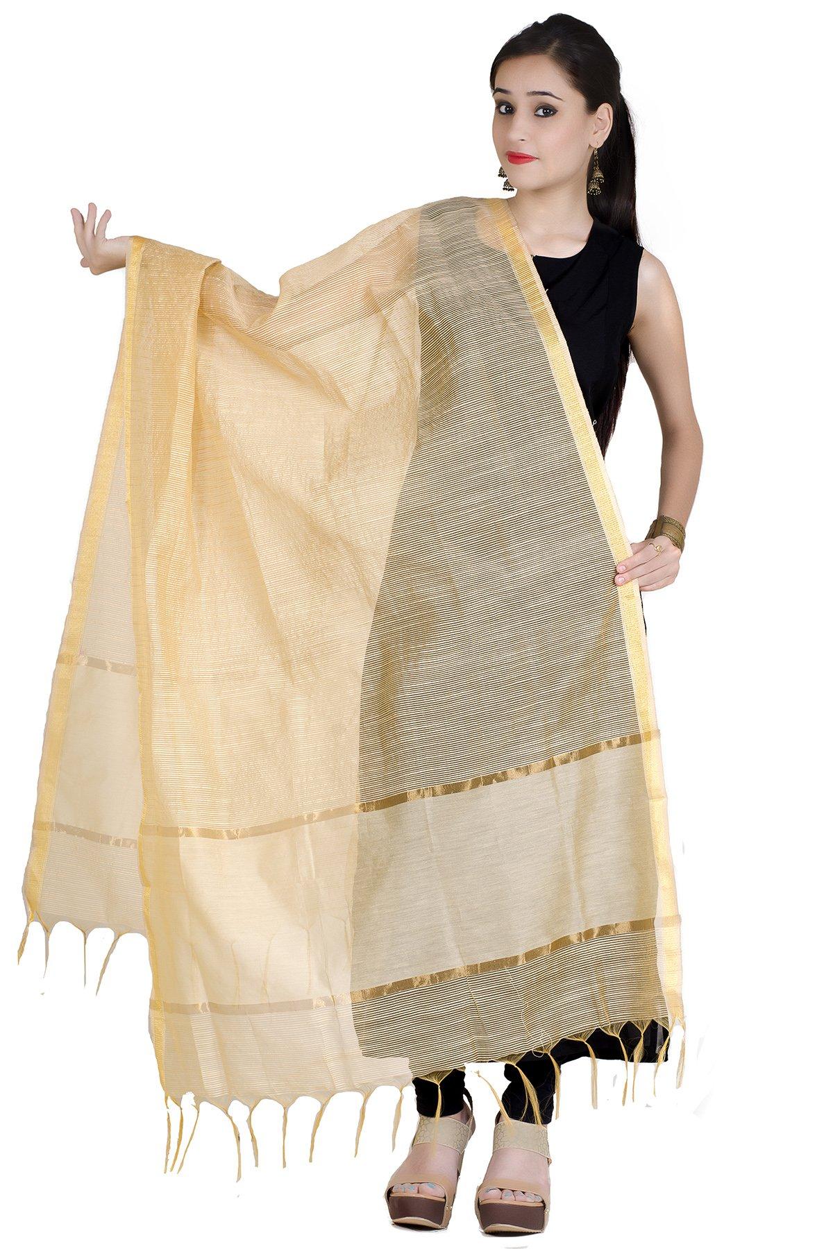 Chandrakala Women's Chanderi Zari Work Banarasi Dupatta(Beige)