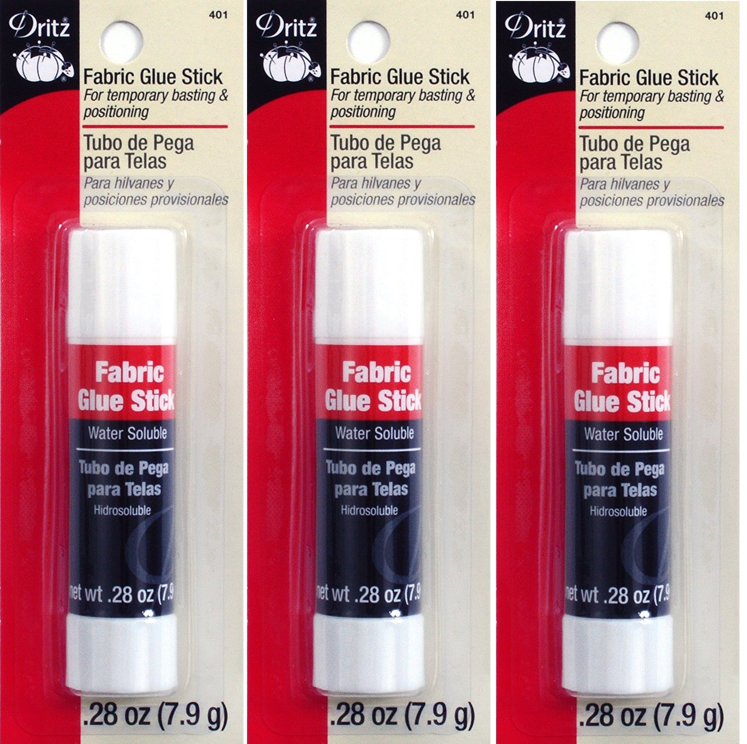 Dritz 401 Fabric Sewing and Craft Glue Stick, 0.28-Ounce (3 Pack)