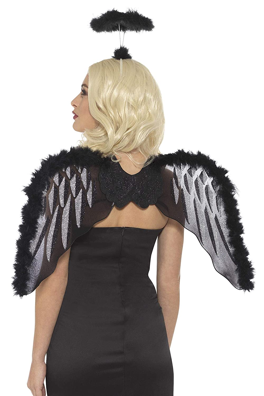 Smiffys-48929 Kit de ángel caído, con alas de Purpurina y Aura de ...