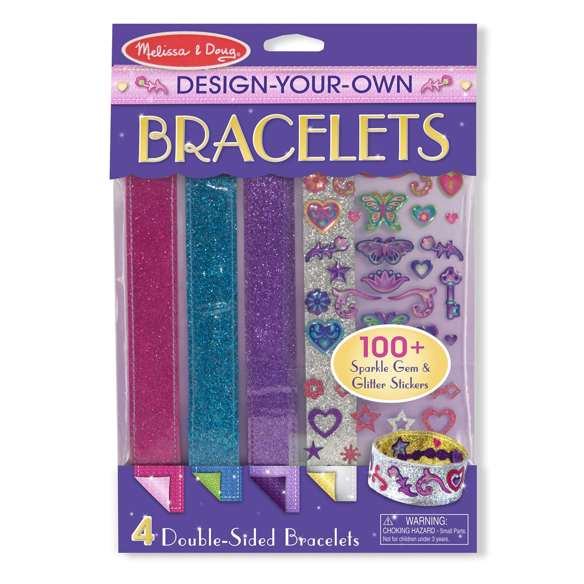 """Melissa & Doug Design-Your-Own Bracelets, Arts & Crafts, Easy Tab Closure, Reversible and Adjustable, 4 Double-Sided Bracelets, 9.7"""" H x 7.15"""" W x 0.25"""" L"""