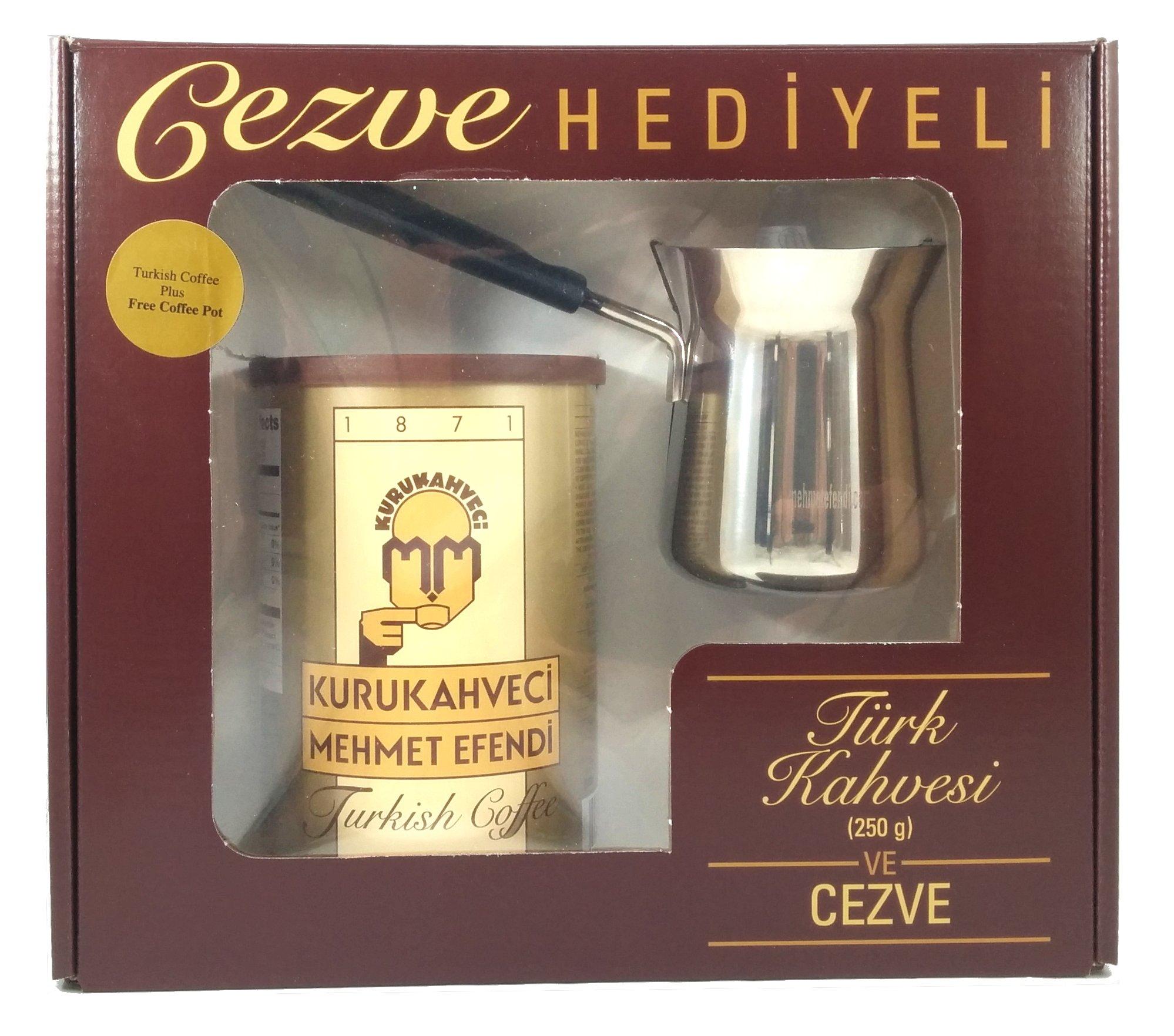 Mehmet Efendi Turkish Coffee 8.8oz w/ Stainless Steel Coffee Pot by Mehmet Efendi