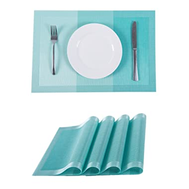 SUNSHINE FASHION Set of 4 Placemats,Placemats Dining Table,Heat-Resistant Placemats, Stain Resistant Washable PVC Table Mats,Kitchen Table mats (4, Strip-Turq)