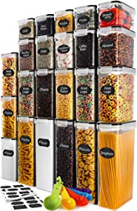 Cereal Storage Container Set, VERONES Airtight Food Storage Containers, 23 Pack BPA Free Kitchen Pantry Organization for Flour, Sugar, Cereal Plastic Canisters with Black Locking Lids