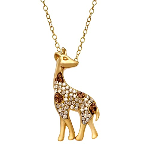 Crystaluxe Giraffe Pendant Necklace with Swarovski Crystals in 14K Gold-Plated Sterling Silver