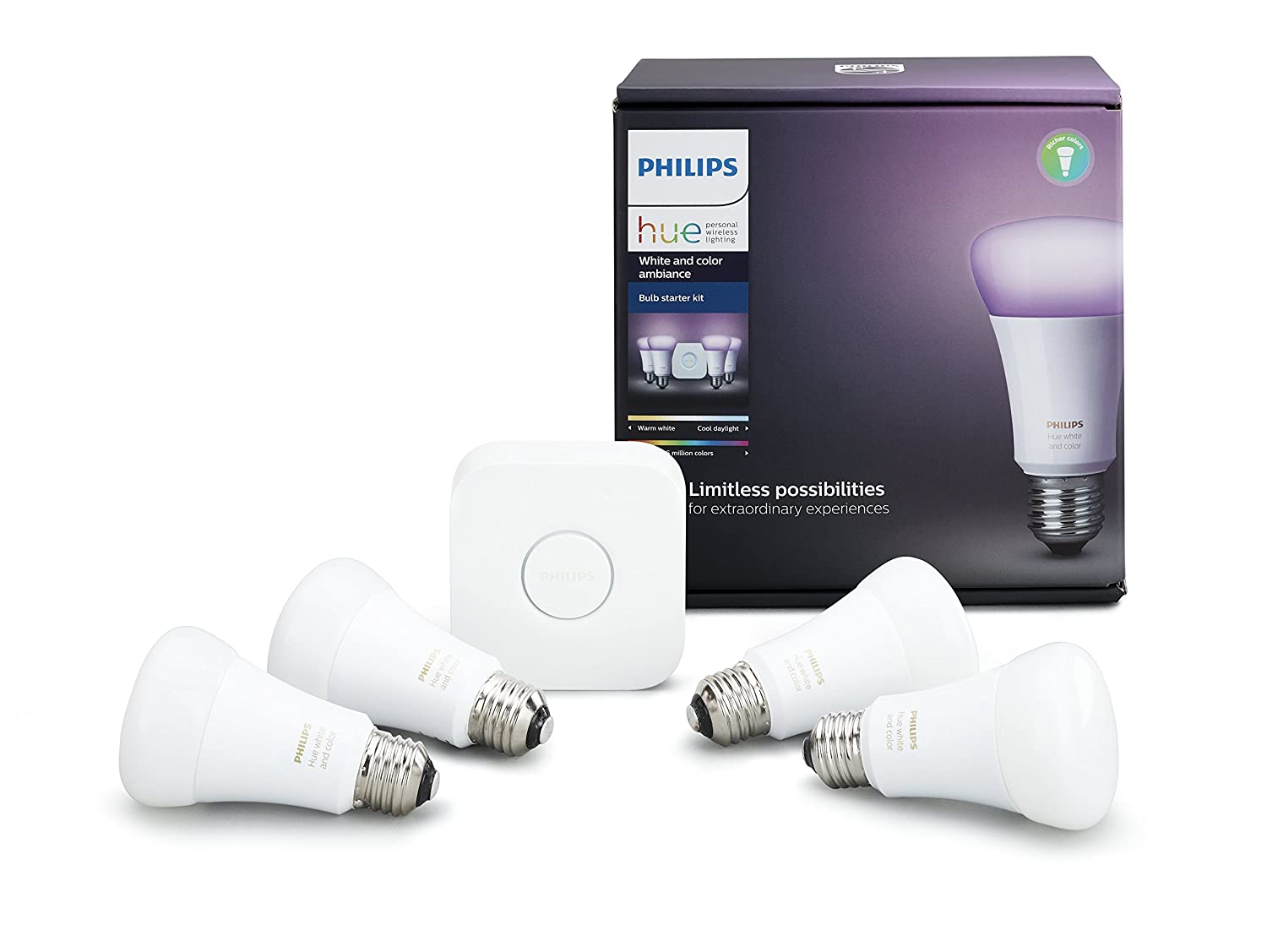 Hue White & Colour Ambiance A19 4 Pack Starter Kit (Compatible with Amazon Alexa, Apple Home Kit and Google Assistant) Philips 471978