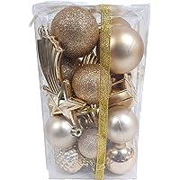Kit de Bolas e Enfeites de Natal para arvore com 24 Peças (dourada)