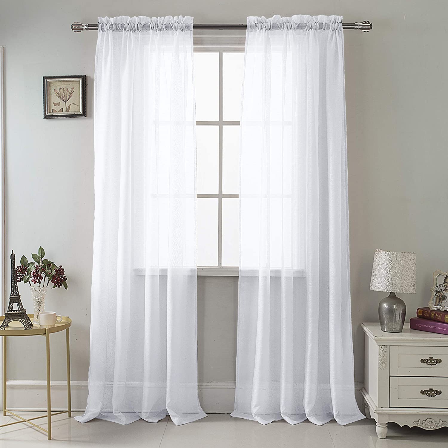 Amazon Com Rt Designers Collection Celine Sheer 55 X 90 In Rod Pocket Curtain Panel White Home Kitchen