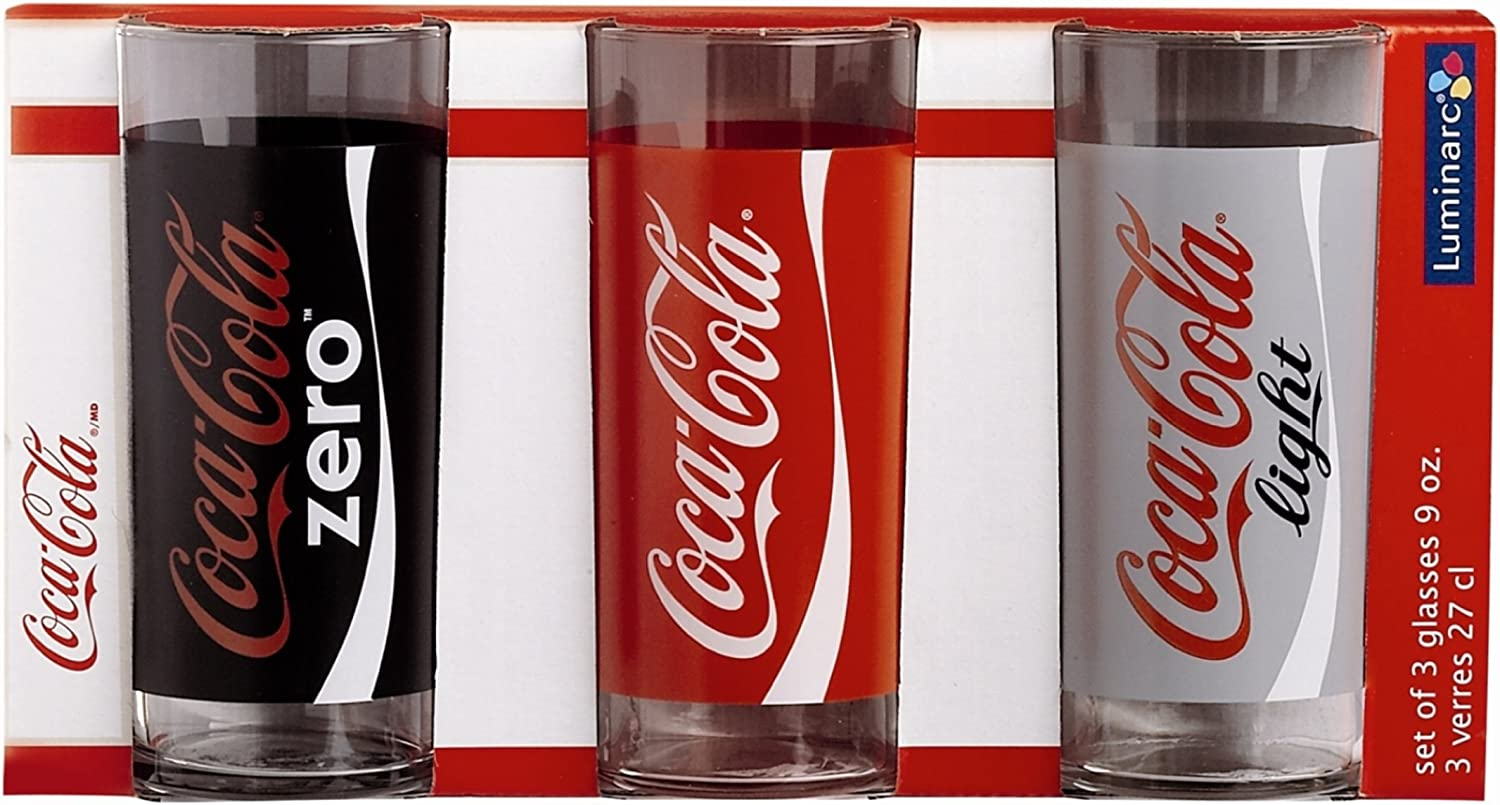 Luminarc Estuche 3 Vasos Coca Cola Modelo Mix: Amazon.es: Hogar