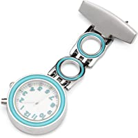 ShoppeWatch Nurse Lapel Pin Watch With Luminous Glow Backlight Easy Read Blue Bezel Light Up White Dial NW-230