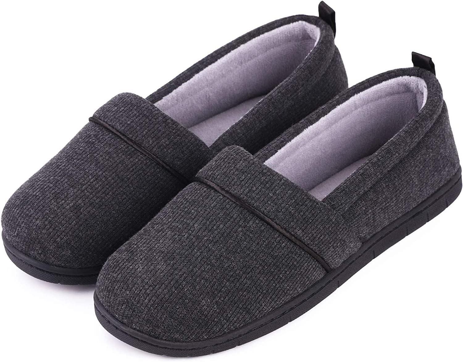 Women's Comfort Cotton Knit Memory Foam House Shoes Light Weight Terry Cloth Loafer Slippers w/ Anti-Skid Rubber Sole