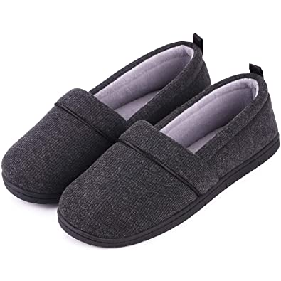 de4fffa87676b Ladies' Memory Foam Comfort Cotton Knit House Shoes Light Weight Terry  Cloth Loafer Slippers w