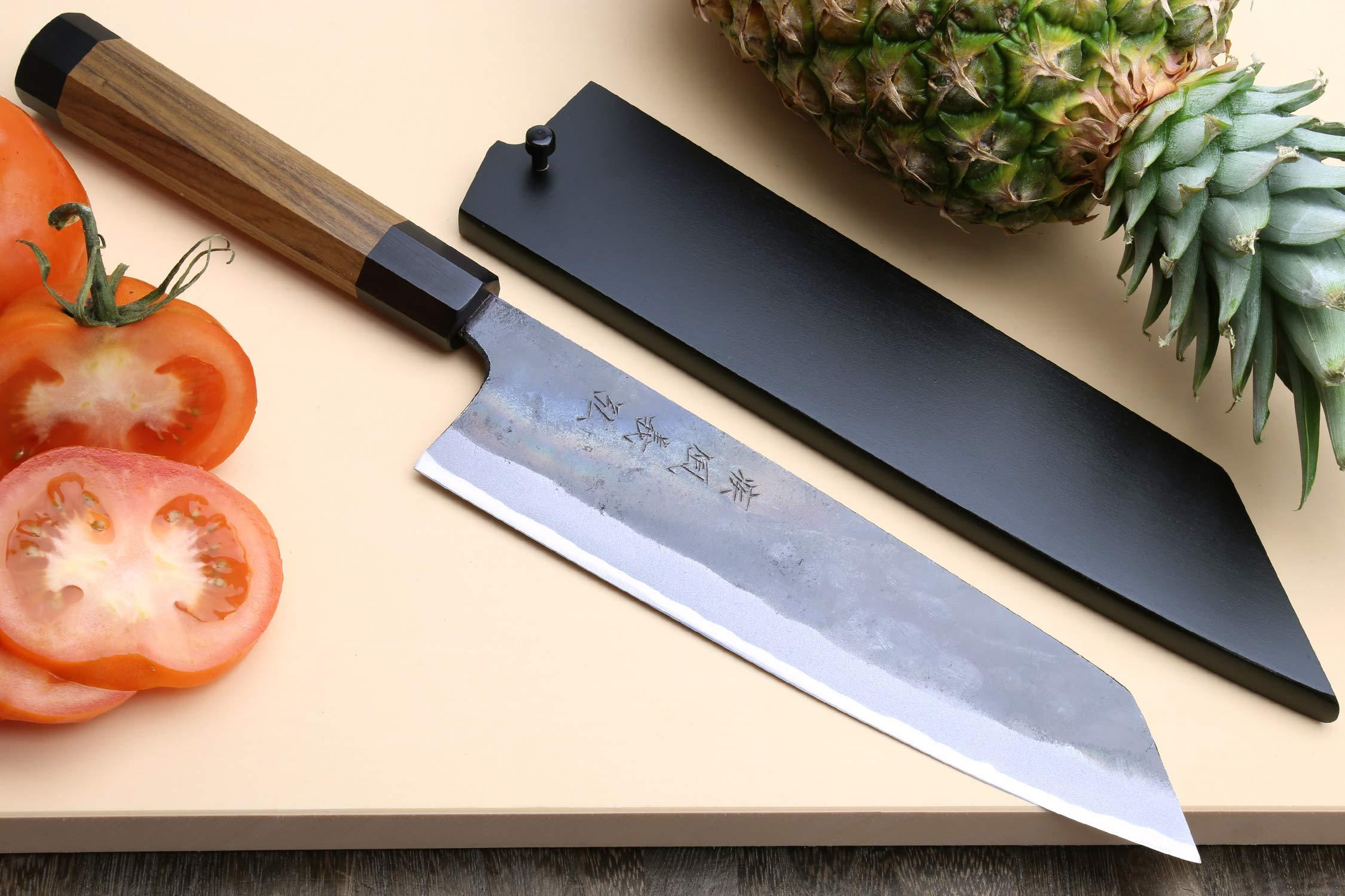 Yoshihiro Mizu Yaki Blue High Carbon Steel Super Kurouchi Kiritsuke Multipurpose Chef Knife (8.25 In) with Nuri Saya Cover by Yoshihiro (Image #2)