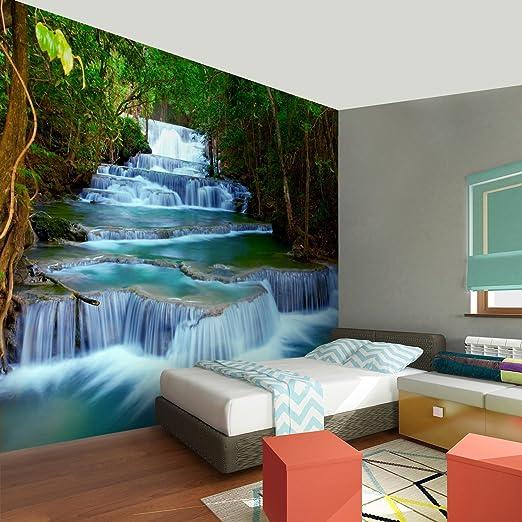 Papel Pintado Fotográfico Naturaleza de la cascada 396 x 280 cm Tipo Fleece no-trenzado Salón Dormitorio Despacho Pasillo Decoración murales decoración de ...