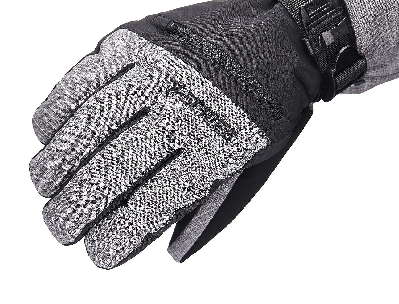 Grey//Black, M Waterproof /& Windproof SNOTEK X-Series ST244X Mens Winter Ski Gloves