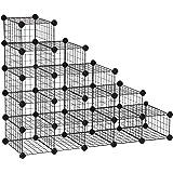 SONGMICS 5-Tier Shoe Rack, Space-Saving 15-Pair Metal Shoe Organizer Units, Modular Cube Storage, Ideal for Entryway Hallway Bathroom Living Room, 35.8 L x 14.2 W x 28 H Inches, Black ULPI44HS