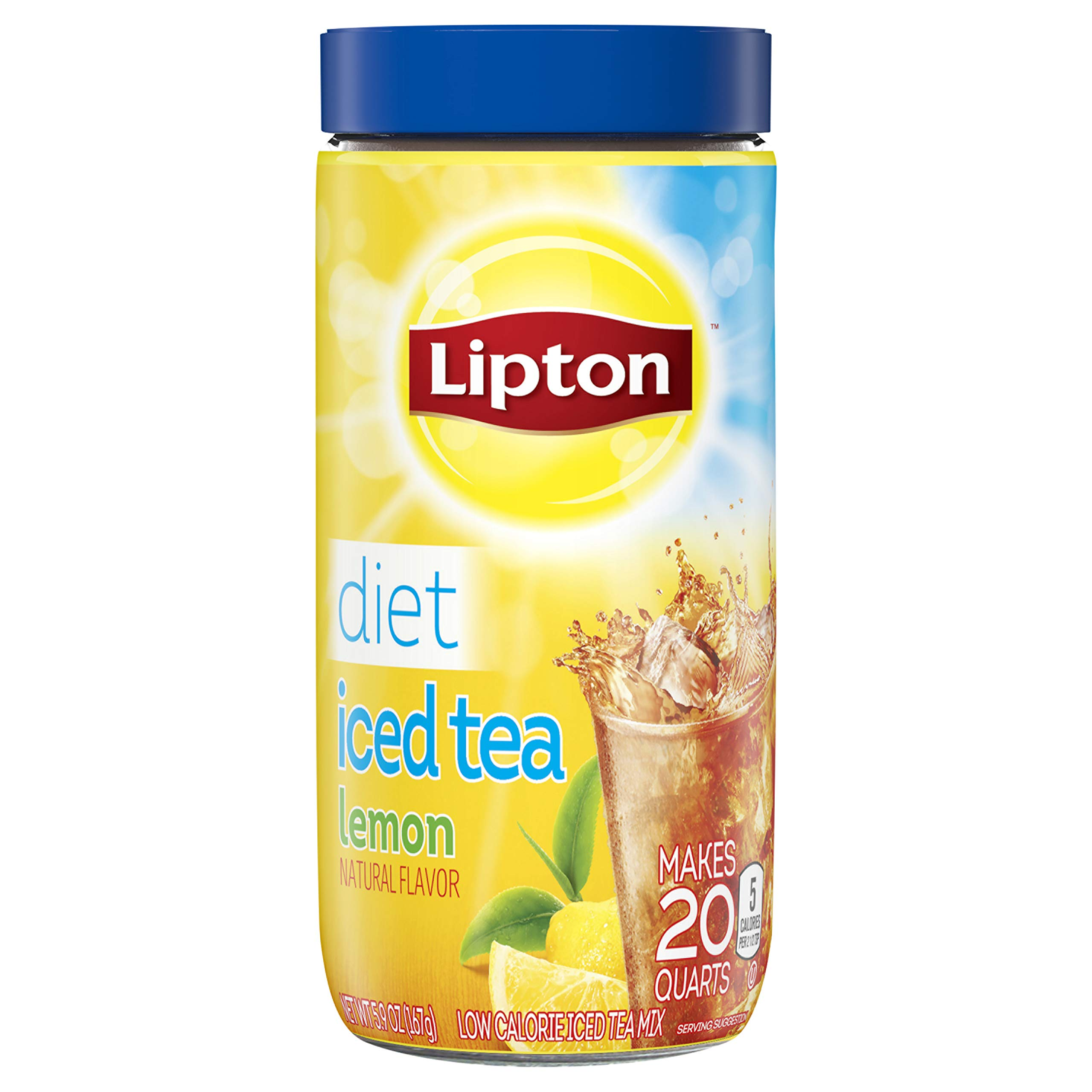 Lipton Black Iced Tea Mix, Diet Lemon 20 qt, pack of 6