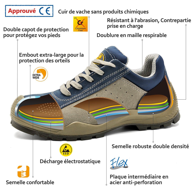 SAFETOE Chaussure de Travail Basket Homme L7295 Basket Chaussure de S¨¦curit¨¦ Bleu pour Travail S1P l7qdLsQ5LH