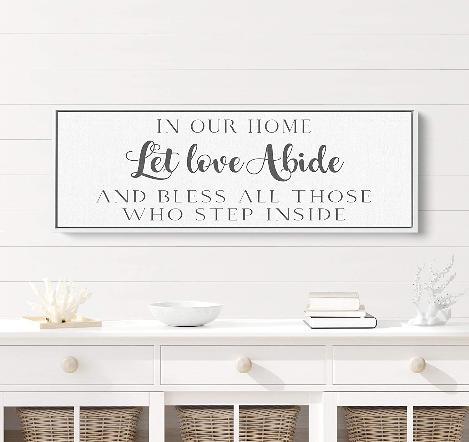 onepicebest Wood Signs for Home Decor, in Our Home Let Love Abide and Bless All Those Who Step Inside Sign, 6×20 Inch