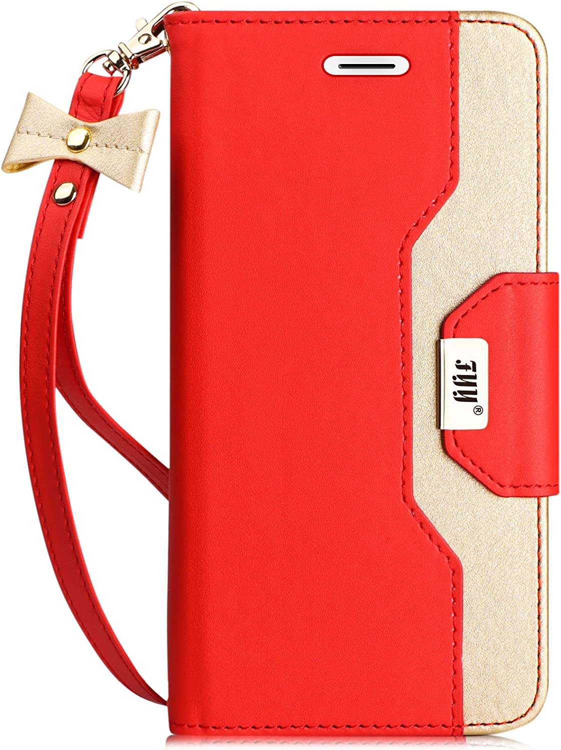 FYY Leather Case with Mirror for iPhone 6S/iPhone 6, Leather Wallet Flip Folio Case with Mirror and Wrist Strap for iPhone 6S/iPhone 6 Red
