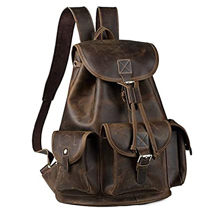 e7c42bdb95e8 Image Unavailable. Image not available for. Color  KK s 16 quot  full grain  leather backpack vintage ...