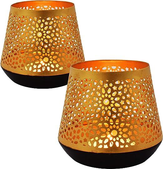 Ceuta - Juego de 2 farolillos de jardín orientales dorados de 12 cm para exterior e interior como farolillo de mesa marroquí para jardín, para colgar o colocar de pie: Amazon.es: Hogar
