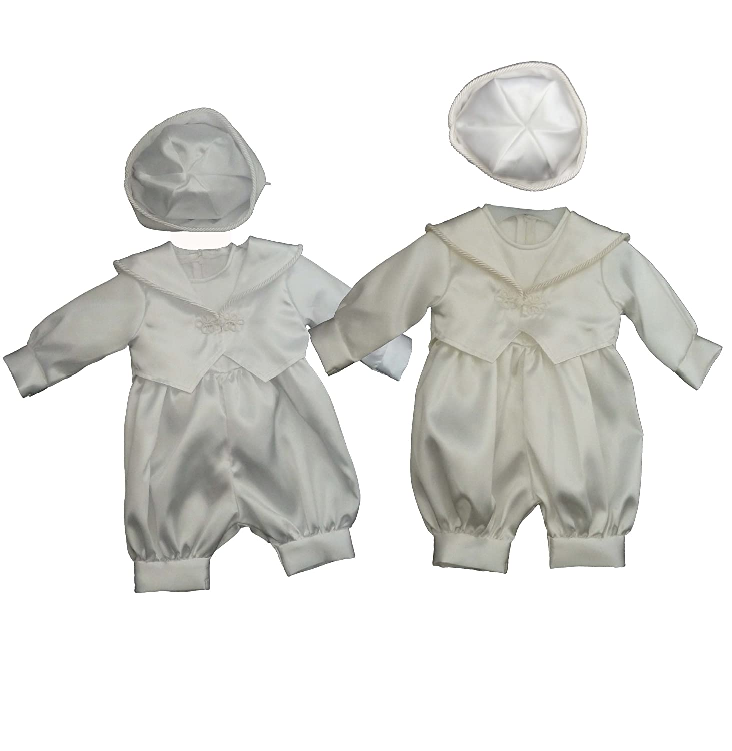 Baby Boys 3 Piece Christening Wedding Romper Outfit in White & Ivory (6-9 Months, Ivory) Jaan Collection