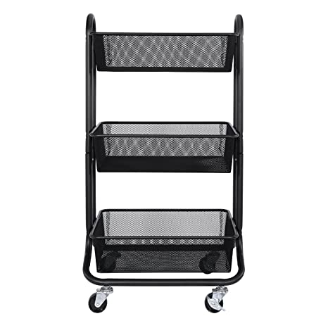 3 tier cart with wheels craft storage designa 3tier metal mesh rolling storage cart with utility handle black amazoncom