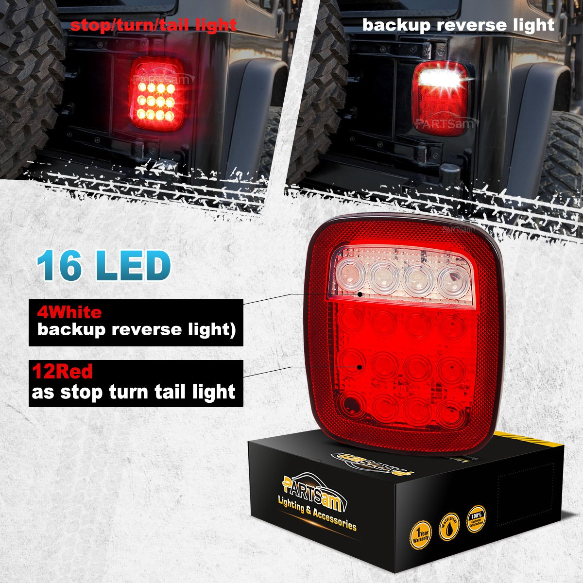 Partsam 2x Universal 16 Led Stop Tail Turn Signal Backup 89 Yj Light Wiring Diagram Reverse Brake Clearance Marker Lights Lamps Red White For Truck Trailer Jeep Jk Cj