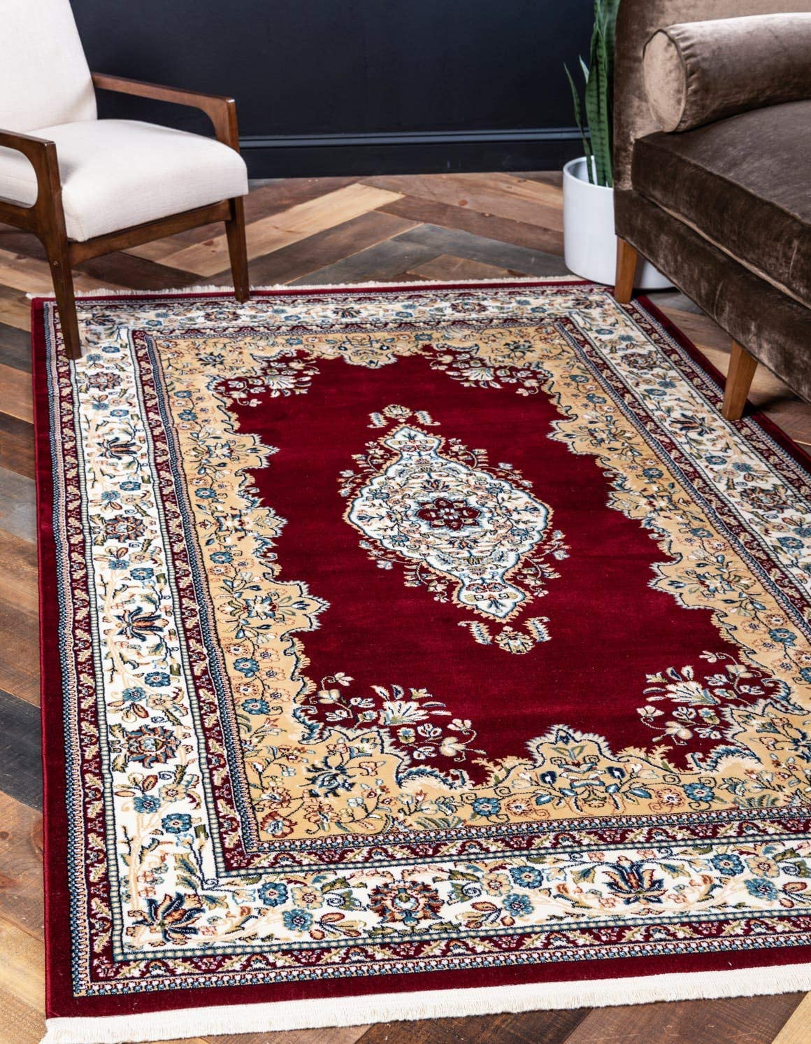 Unique Loom Narenj Collection Classic Traditional Medallion Textured Burgundy Area Rug 8 0 x 10 0