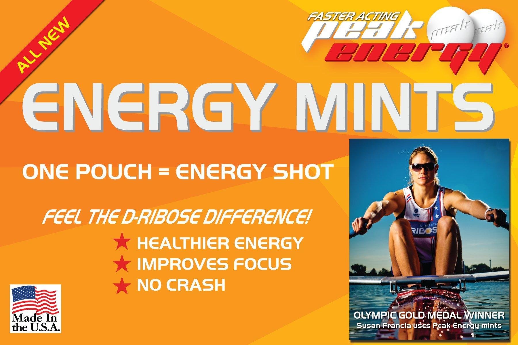 Caffeine and D-Ribose Energy Mints - 100mg Caffeine per mint - 72 Pouches (3 Boxes) - Orange Cream Flavor by Peak Energy (Image #3)