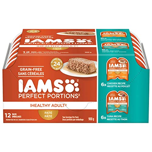 Iams Perfect Portions Grain Free Adult Wet Cat Food Pate Chicken Recipe Tuna Recipe Variety Pack, 12 2.6 Oz. Twin Pack Trays, 12count Pack of 12