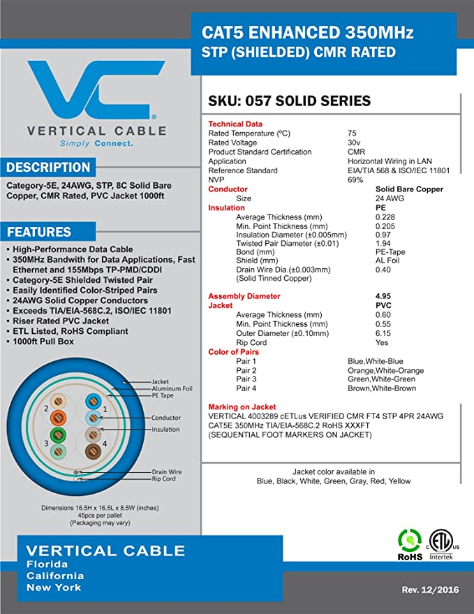 Amazon.com: Vertical Cable Cat5e, 350 MHz, Shielded, 24AWG, Solid ...