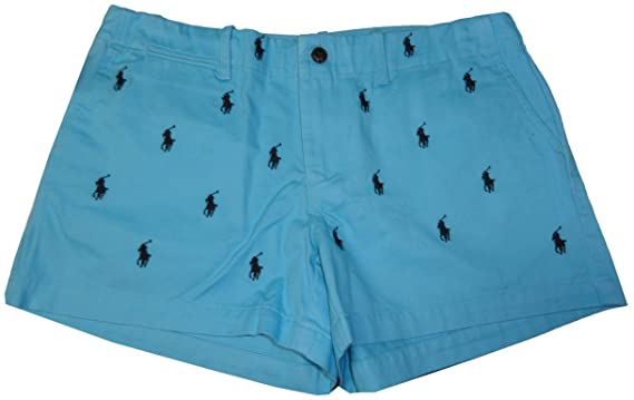 Polo Ralph Lauren Women\u0027s Sport All Over Pony Shorts-Turquoise-Size 2