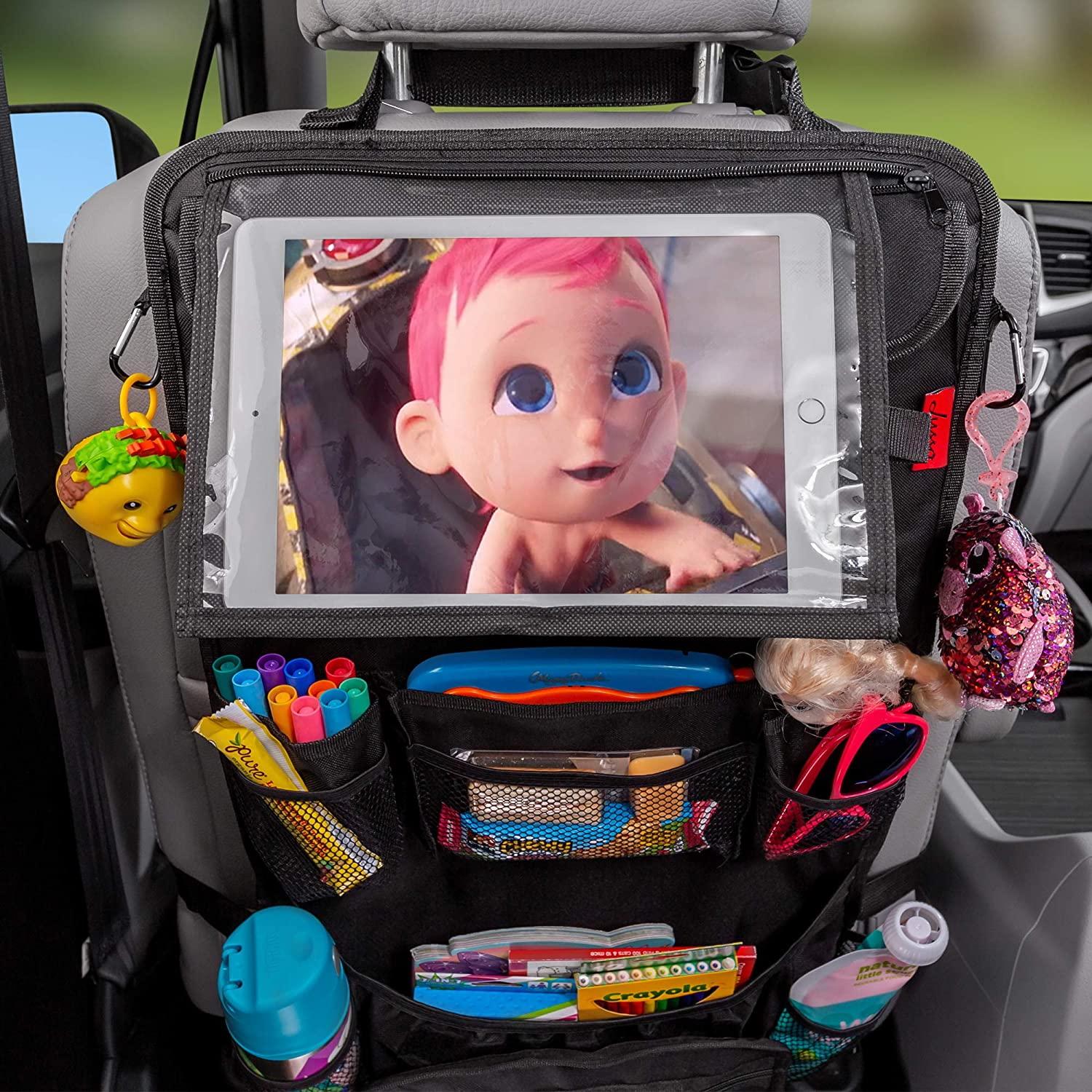 Reinforced Corners to Prevent Sag Car Back Seat Organizer with Larger Protection /& Storage Great Travel Accessory for Kids 12 Compartments including iPad Holder Eco Friendly Materials