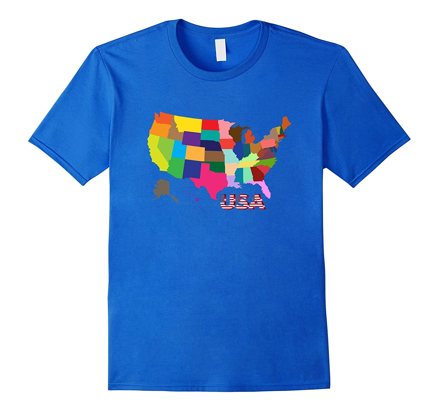 United States Map All The States Colorful USA T-Shirt -CL on miss united states, ma united states, se united states, rainbow united states, pa united states, ne united states,