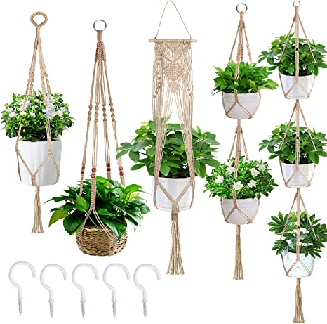 Hand-woven Flower Pot Macrame Hanging Basket Sling Household Net Bag FA