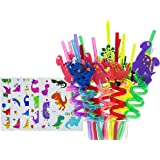 Reusable Dinosaur Straws-Plastic Drinking Straws for Kids Birthday Party Decorations-Dinosaur Birthday Party Supplies…