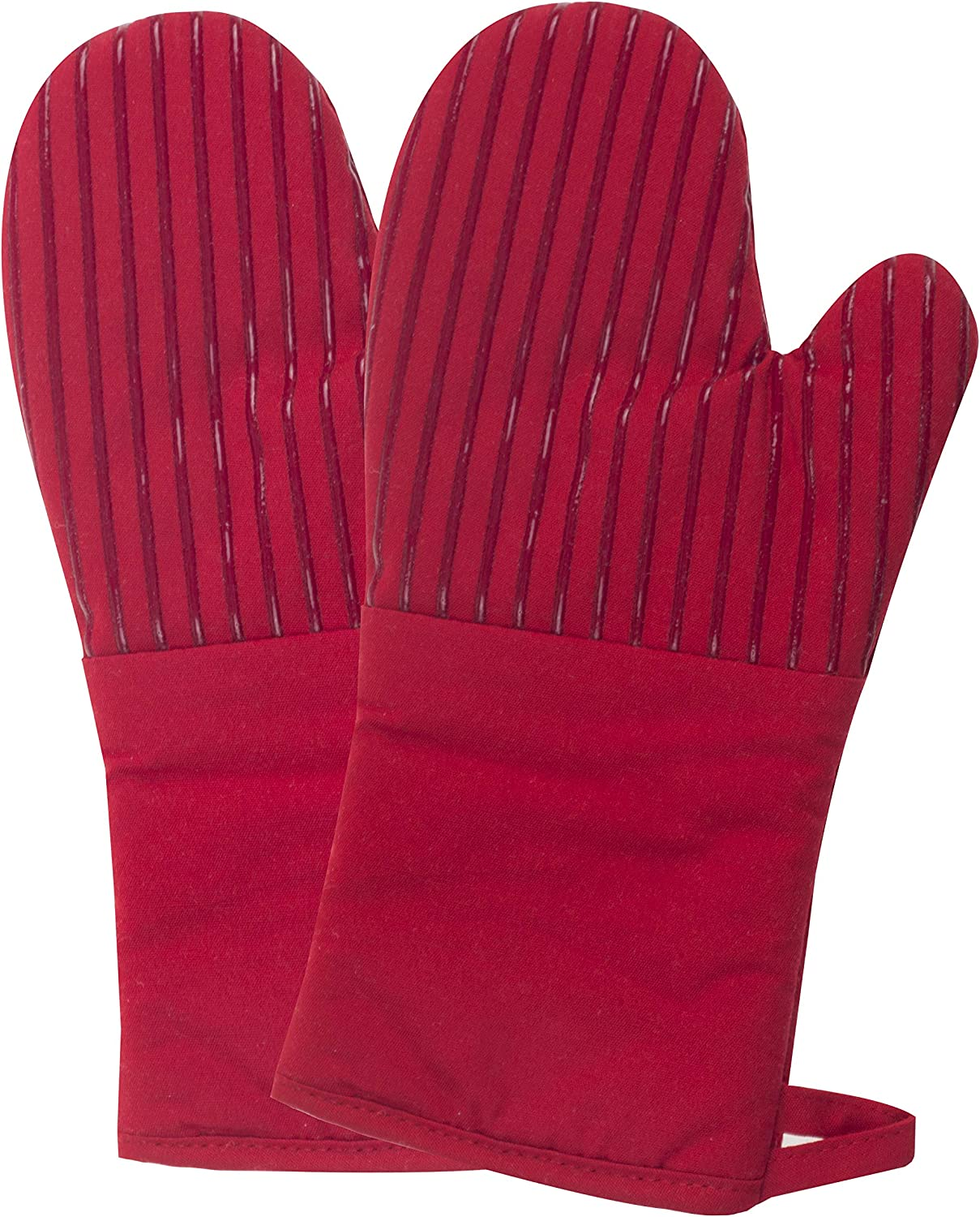 Joyhalo Oven Mitts with Cotton Lining and Non Slip Silicone Stripes - 500 Degrees Heat Resistant Gloves for Oven, Grill, Flexible & Extra Long Kitchen Hot Pot Holder for Baking, Cooking, Wine Red