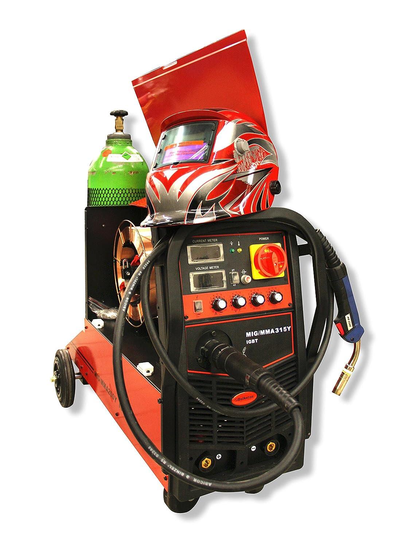 Bolsa de sonido digital 2-función-sistema de soldadura multi - MIG315Y MIG/MAG - ARC (MMA)- 380 V (juego de oferta) incl, bombona, casco de protección, ...