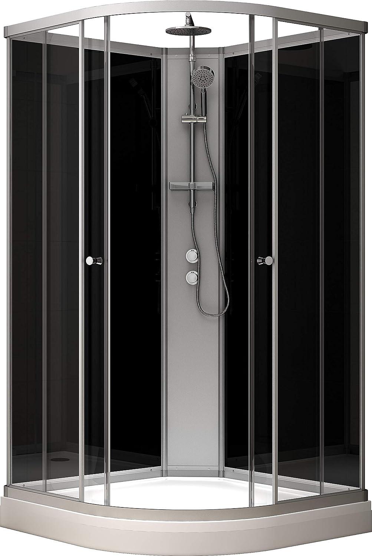 Cabina de ducha 100 x 100 cm, color plateado y negro: Amazon.es ...