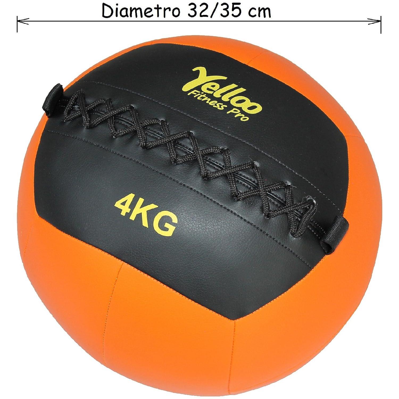 yelloo Wall Ball Balón medicinal Crossfit sintética negra naranja ...