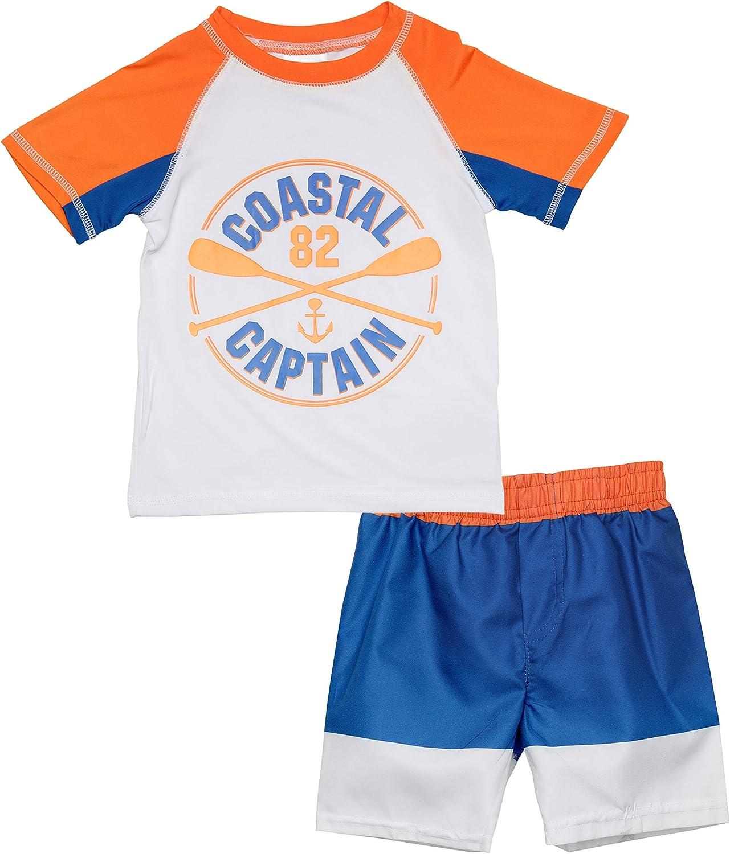 Infant//Toddler//Big Kid Boys Short Sleeve 2 Piece Rash Guard /& Trunk Swimsuit Set Sweet /& Soft Boys UPF 50