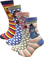 4 Pairs Disney Ladies Girls Cotton rich Winnie the Pooh Socks 4-8 uk, 37-42 eur