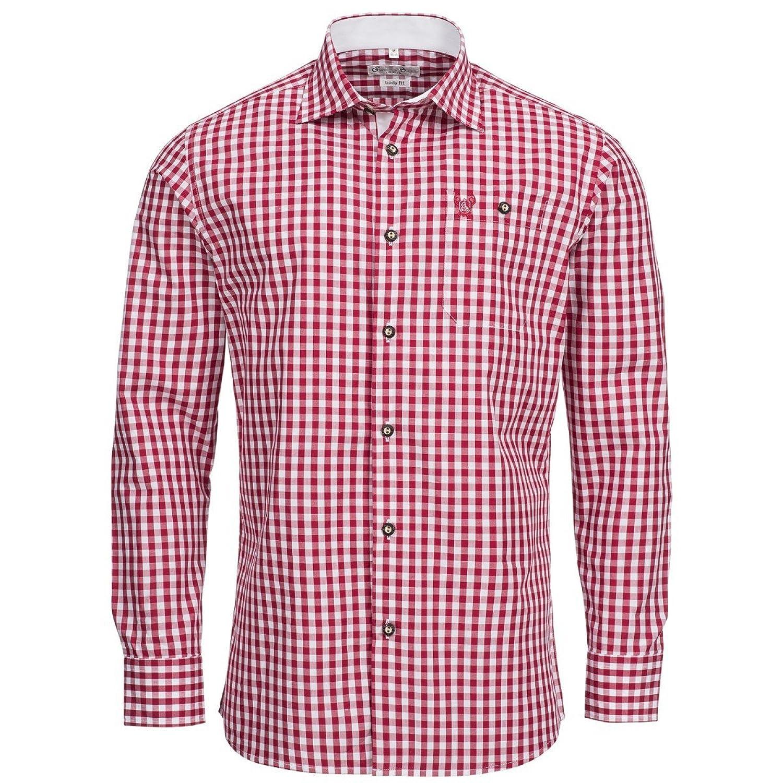 Trachtenhemd Body Fit in Rot von Gweih & Silk