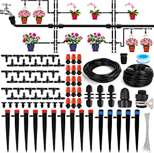 Drip Irrigation Kit,Automatic Atomization Micro Spray Watering System with 1/4 and 1/2 inch Blank Distribution Tubing Hose,Adjustable Nozzle Emitters for Greenhouse Garden Flower Bed Patio Lawn