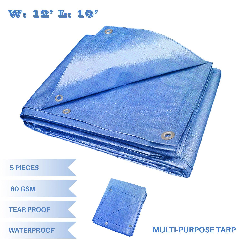 E/&K Sunrise 9 x 12 Finished Size General Multi-Purpose Tarpaulin 5-mil Poly Tarp Blue