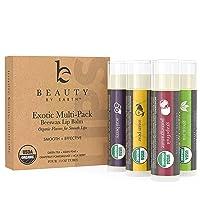 Organic Lip Balm Flavor Pack - 4 Tubes of Natural Lip Balm, Lip Moisturizer, Lip...